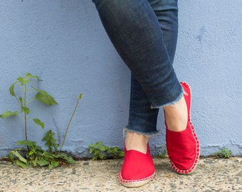 Espadrilles STARTER KIT :  Organic Bright Ruby Red Espadrilles Shoe DIY Kit