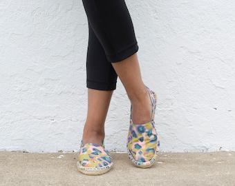 Espadrilles STARTER KIT :  Katie Kortman fabric Lush and Wild Green and Pink Cheetah espadrilles kit