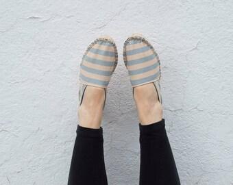 Espadrilles STARTER KIT :  Sun-washed Blue Stripe Espadrilles Shoe DIY Kit