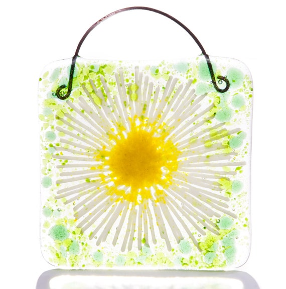 Daisy Chain Fused Glass Art Lightcatcher Suncatcher