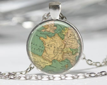 World Map Necklace Map Pendant Glass Jewelry Globe Necklace France Map Necklace