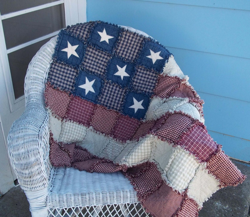 American Flag Rag Quilt Made To Order Wall Quilt Lap Quilt