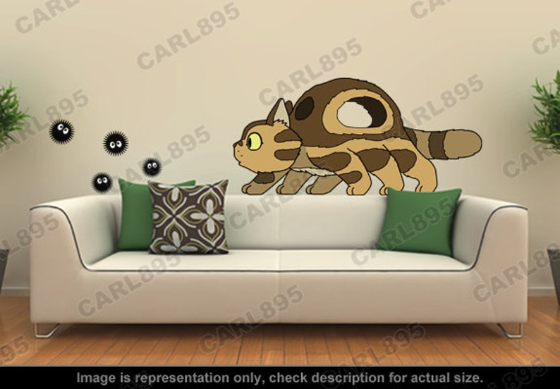 totoro inspired little catbus / soot sprites wall art | etsy