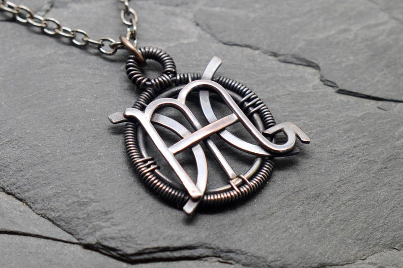 Pisces Scorpio necklace wire wrapped oxidised copper combined zodiacs