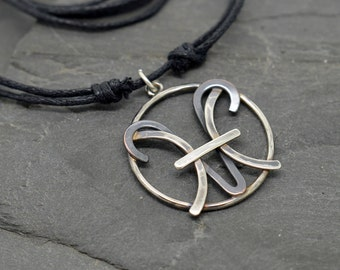 Pisces aries zodiac necklace sterling silver and oxidised copper