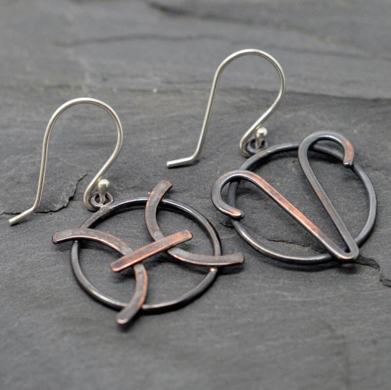 Aries pisces cusp zodiac earrings oxidised copper