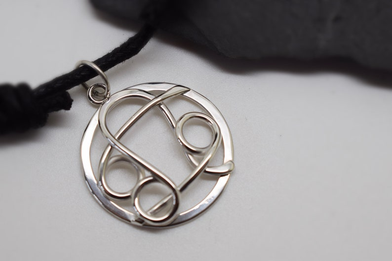Large leo cancer necklace sterling silver with flat circle combined zodiacs