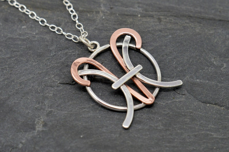 Aries pisces necklace sterling silver and polished copper