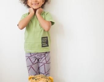 "Kids Screen Printed T-shirt, Organic Cotton with ""Music.Food.Love.Water."" Print"
