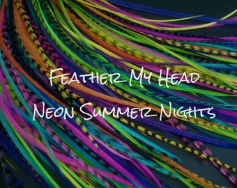 Feather hair extensions do it yourself diy kit 16 pc feather hair extensions do it yourself diy kit 16 pc thin feathers medium long 7 9 18 23cm neon nights mix solutioingenieria Choice Image