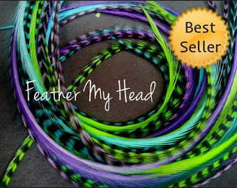 """Feather Hair Extensions - Do It Yourself (DIY) Kit - 16 Pc Thin Feathers - Medium Long 7"""" -9"""" (18-23cm) Purple Blue Green - Caribbean"""