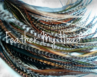 """Feather Hair Extensions - Do It Yourself (DIY) Kit - 16 Pc Thin Feathers - Medium Long 7"""" -9"""" (18-23cm) Browns Greens Golds - Wild Thing"""