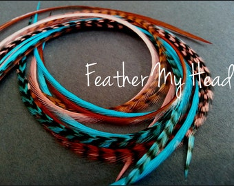 """Feather Hair Extensions - Do It Yourself (DIY) Kit - 16 Pc Thin Feathers - Medium Long 7"""" -9"""" (18-23cm) Coral - Brown - Turquoise - Sante Fe"""