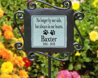 Personalized Pet Memorial Garden Stake, Loss of Pet, Dog, Cat, Sympathy Gift, Garden Memorial No Longer by our Side but always in our Hearts