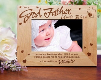 Personalized Engraved Godmother Godfather Godparents Wood Picture Photo Frame