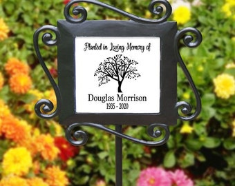 Planted In Loving Memory of Stake, Custom Personalized Memorial Stake, Memorial Sign Plaque, Temporary Grave marker, Custom Sympathy Gift