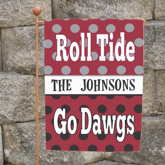 Beau Custom House Divided Yard Flag Alabama Georgia Dogs Auburn | Etsy