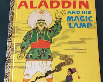 "Vintage Aladdin and his Magic Lamp Little Golden Book, ""A"" Edition"