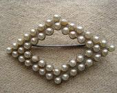 Pretty Vintage Pearl Diamond Shape Brooch