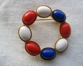 Vintage Red, White & Blue Circle Brooch