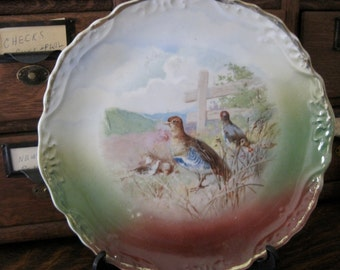 Pretty Vintage Hand Painted Game Bird Plate