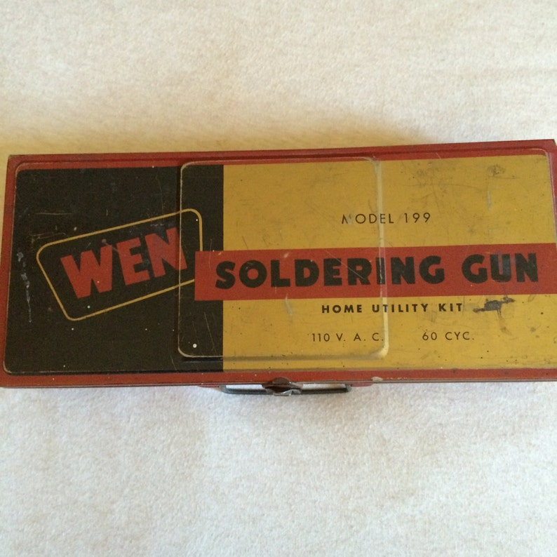 Vintage Industrial Wen Soldering Gun  Metal BoxCase