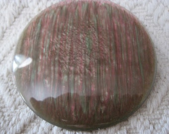 Vintage Round Plastic Pinkish/Purple and Greenish/Gray Brooch and Pendant
