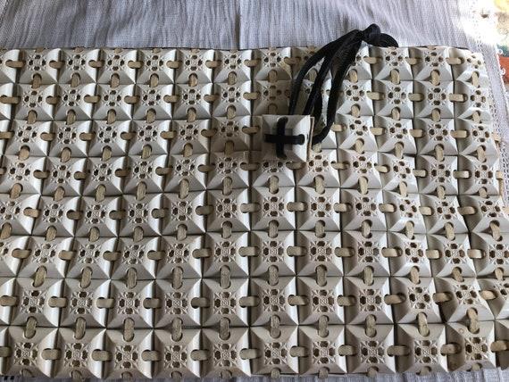 Vintage 40's Large Cream Plasticflex Clutch Bag w… - image 6