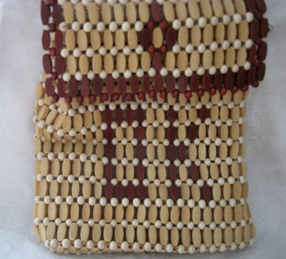 Boho Vintage Wood Beaded Bag with Initials DK or O