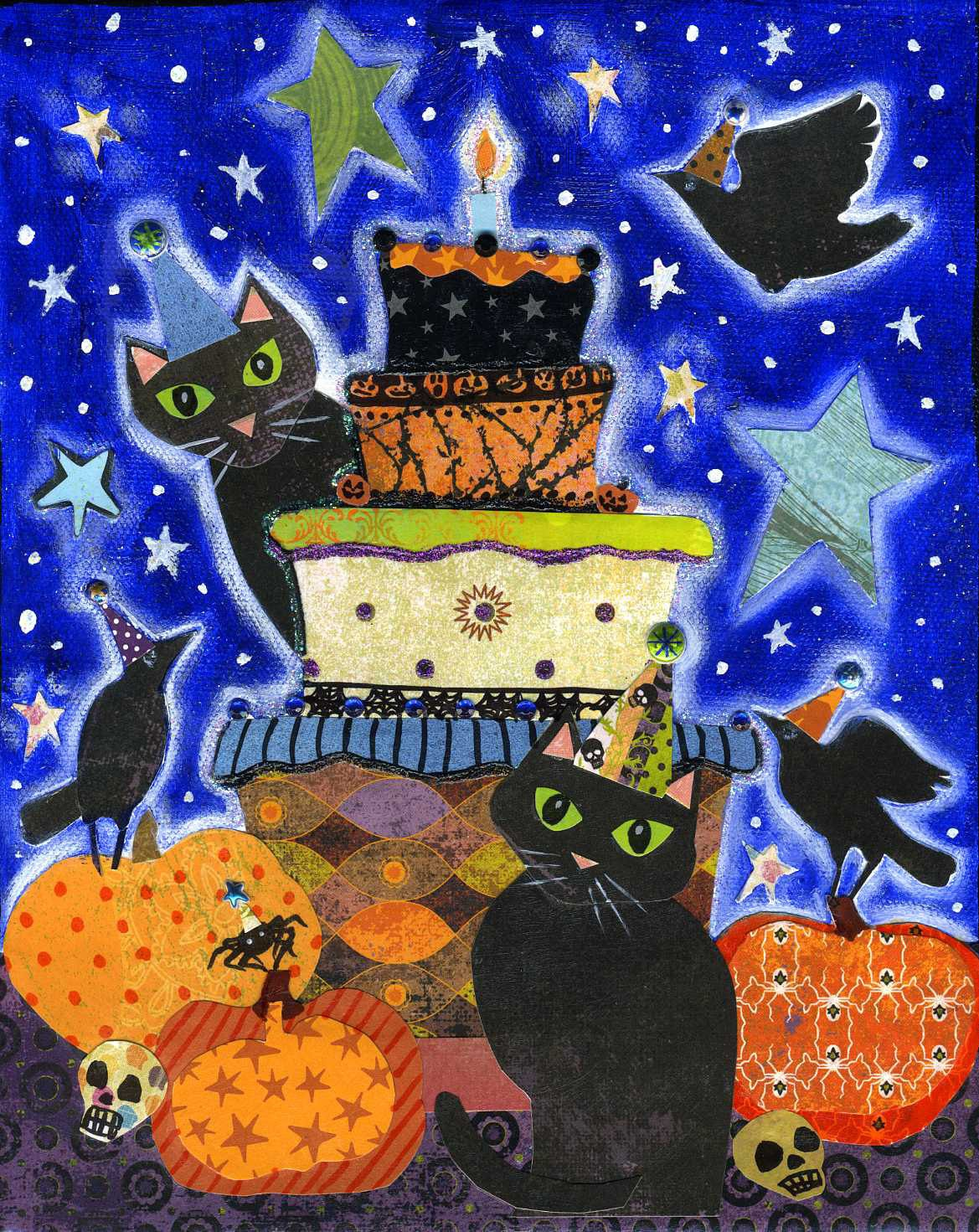 Living Room Decorating Ideas For Apartments For Cheap: Halloween Party 8x10 Colorful Whimsical Black Cat Raven