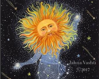 Big Print / 18x24 / Giclée / Sun Art / wall art / home decor / brother sun / constellation / the sun king / whimsical decor nursery art