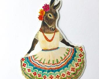 Vinyl Sticker // Die Cut Donkey Sticker // Burra Sticker // Dancing Donkey Sticker // Laptop Decal // Gifts under 5