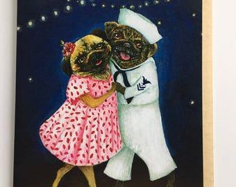 Pug Card // Pug Couple // Dancing Dogs // Romantic Card // Pug Lover // Card // Sailor