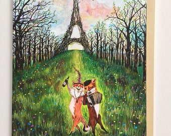 Fox Card / Engagement / Paris / French Bridal Shower / Wedding Card / French Fox / April Birthday card for girlfriend wife husband boyfriend