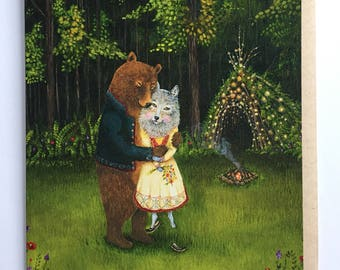 Card/ Grizzly Bear / Wolf / Anniversary / Romantic Animal Card / Animal Couple / Woodland Wedding / engagement card / anniversary card