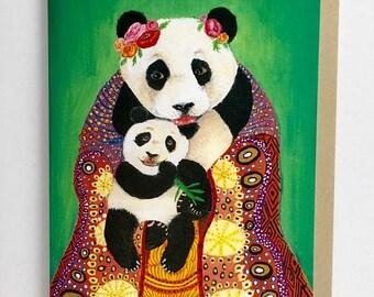 Card // Panda Bear // Mother's Day Card // Expecting Mother // Baby Panda // First Birthday Card // Blank Card // Baby Shower Card