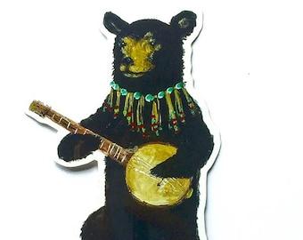 Vinyl Sticker // Die Cut Bear Sticker // Black Bear Sticker // Banjo Player Sticker // Musical Sticker // Laptop Decal // Gifts under 5