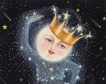 Moon Art / Full Moon / Print / Home Decor / Nursery / Sister Moon / Full Moon Art /  Whimsical Art  Moon Goddess  Constellation Stars  art