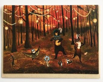 Autumn card / Animal Band / Fall Baby Shower Card / Halloween Card /  Black Bear / Fox / Banjo / Fiddler / Dancing Animals / Woodland / Card