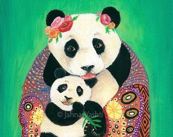 Panda Art / Panda Bear / Print /Mother's Day / Nursery Decor / whimsical decor / Home Decor // Wall Art / Baby Shower Gift / Mother and Baby