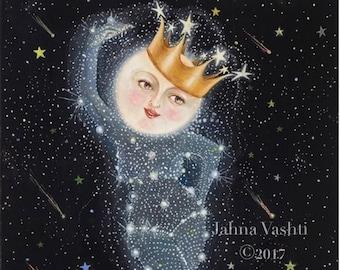 Big Print / 18x24 / Giclée / Moon Art / full moon / sister moon / home decor / whimsical art print dancing moon constellation moon goddess