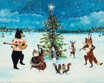 print christmas art holiday art woodland christmas winter solstice animal band dancing animals holiday decor banjo - Woodland Christmas