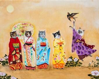 Print // Cat Art // Geisha // Kimono // Whimsical Art // Home Decor // Nursery Decor, Geisha Cat, Whimsical Decor, Art, May birthday gift