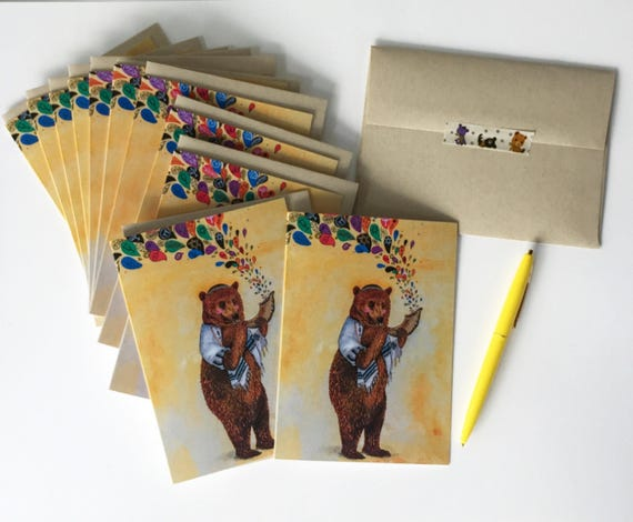 Set of 12 Cards / Jewish Holiday Cards / whimsical Judacia cards / Grizzly Bear / Rosh Hashanah / Chanukah / Hanukkah / Yom Kippur / cute