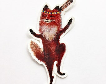 Vinyl Sticker // DIe Cut Fox Sticker // Red Fox Sticker // Dancing Fox Sticker // Cel Phone Decal // Laptop Decal // Gifts under 5