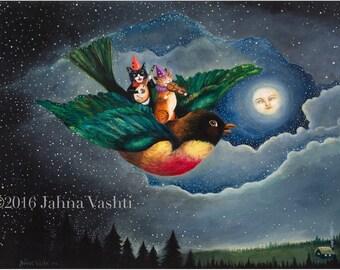 Print // Cat Art // Bird Art // Nursery Decor // Home Decor // Art // Whimsical // Violin // Mandolin // Art // Robin // Whimsical Decor