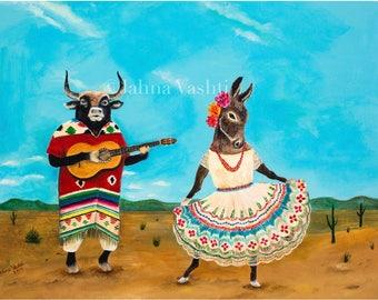 Big Print / 18x24 / Giclée / Donkey / Bull / Mexican Folk Art / Dancing / Guitar / Animal Art / Whimsical Decor / Southwestern / Desert