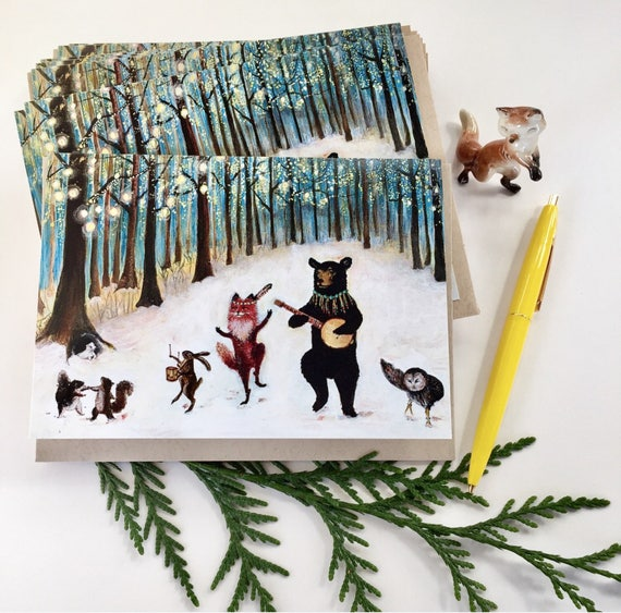 set of holiday cards christmas cards winter solstice cards etsy