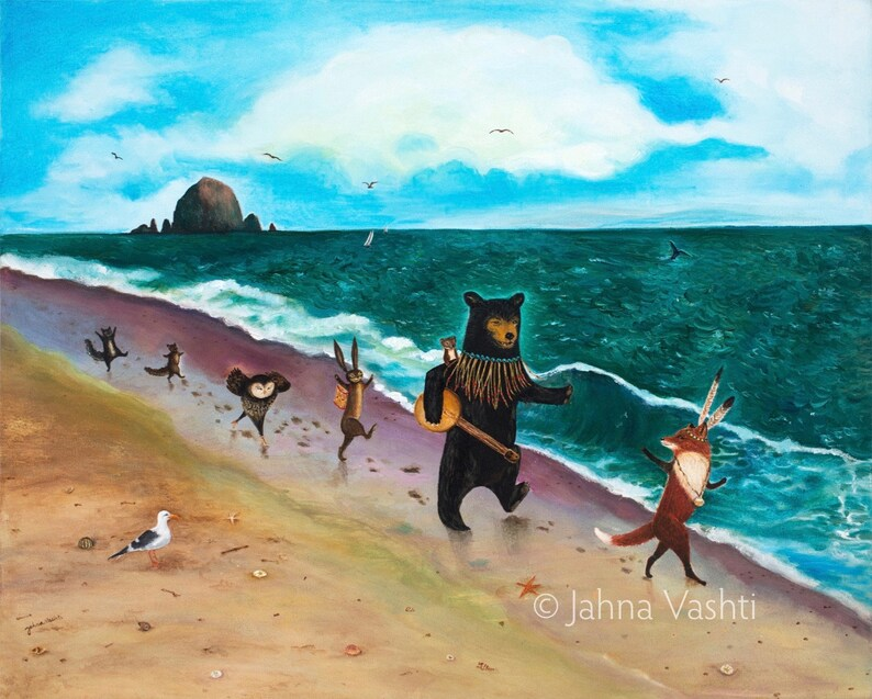 woodland animals by Jahna Vashti by the sea beach wedding Canon Beach Oregon Coast Card Summer baby shower Single Card Beach Day