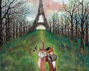 Big Print / 18x24 / Giclée / Fox Art / Woodland / French / Paris / Home Decor / Engagement / Wedding / Gift / Paris Honeymoon / animal art